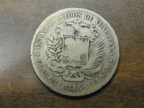 "1886 Venezuela Silver 5 Bolivares ""World Crown"""