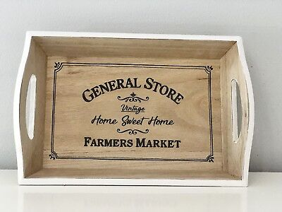 Vintage Style Home Decor (General Store Vintage Style wooden Serving Storage Tray with Handles Home Decor)