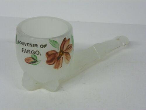 ANTIQUE Clambroth Milk glass Pipe Souvenir Match Holder FARGO North Dakota