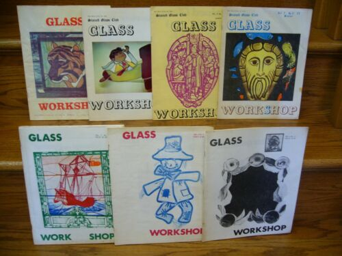 Vintage Lot of 7 Stained Glass 1976 to 1978 GLASS WORKSHOP Bulletin Paperbacks
