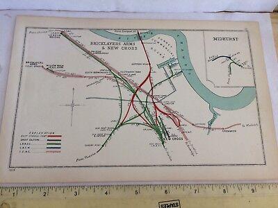 LONDON BRIDGE NEW CROSS BRICKLAYERS ARMS GREENWICH WAPPING RAILWAY MAP 1908