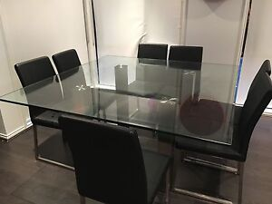 Glass dining table with 8 chairs Cranbourne Casey Area Preview