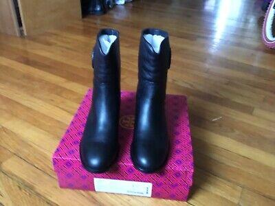 Tory Burch Hallie Midium Shaft Bootie- Tumbled Leather Black Size 7.5