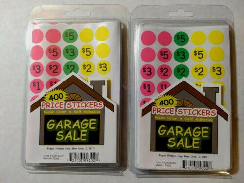 800 Stickers 2Pks / Neon Color Self Adhesive Garage Sale Price Stickers