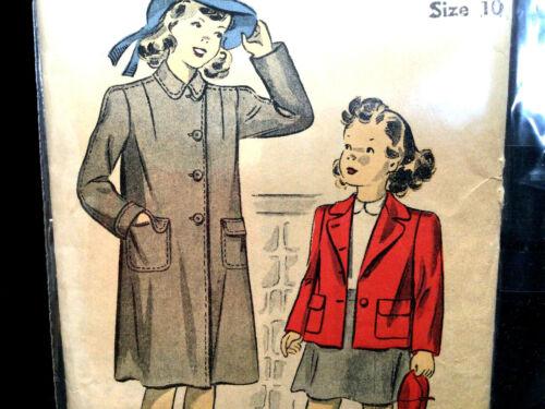 1940s Girl Childs Jacket Coat Size 10 Vtg Sewing Pattern Du Barry 2682B