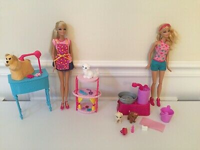 Barbie lot Pet Salon Groomer Dog Cat + Suds And Hugs Bath Time Puppy Play Set