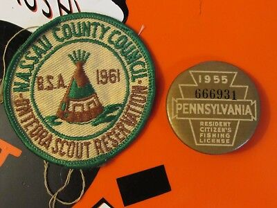 Vintage 1955 Pennsylvania Fishing License * 1961 Nassau County Scout Patch