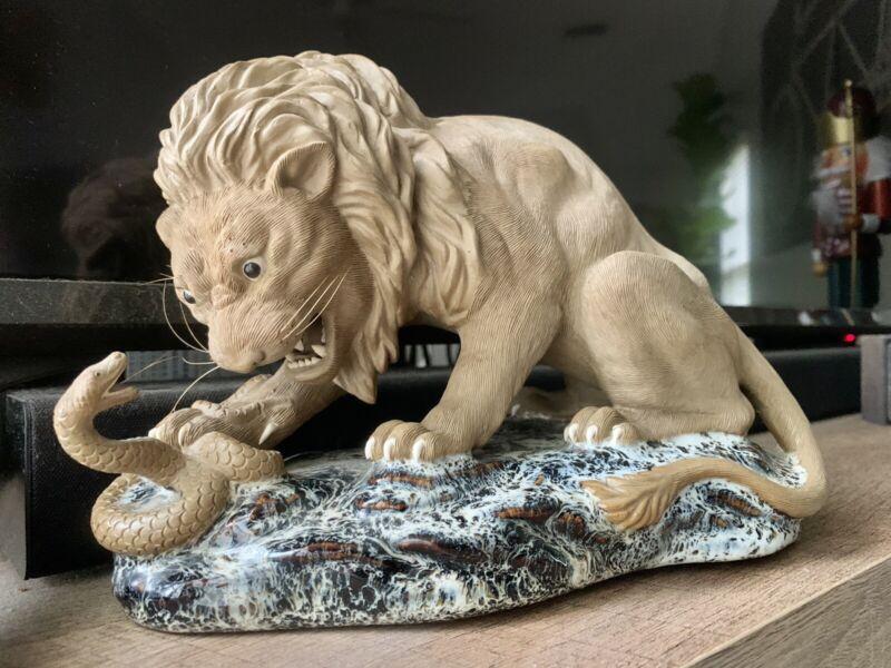 Rare 19th 20th Ouqian Shiwan Mudman Handmade Pottery Lion Snake Sculpture Mudman