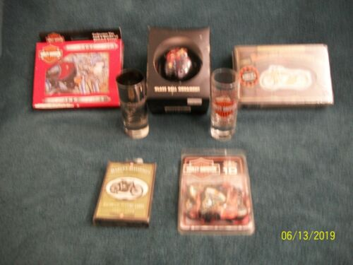 7 Pcs Harley Davidson Collectibles Playing Card Tins  FROM Estate /Storage Units