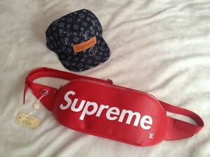 Supreme Louis Vuitton fanny bag & leather box logo denim hat