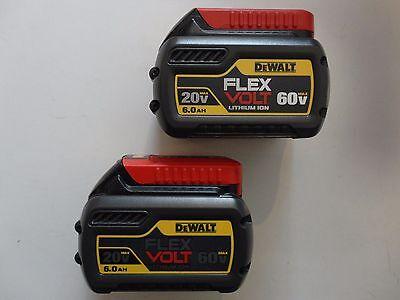 (2) DEWALT DCB606-2 20V 60V FLEXVOLT Li-Ion 6.0 AH Battery packs x 2 New DCB606
