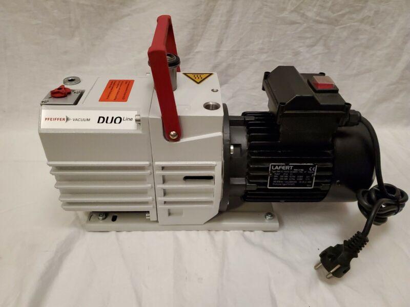 Pfeiffer DUO5M Dual Stage Rotary Vane Vacuum Pump w/Lafert 1415 RPM 0.5HP Motor