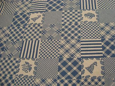 """ONE YARD SHEEP PATCHWORK TAPESTRY FABRIC CHECK BLUE UPHOLSTERY 54"""" w BTY"""