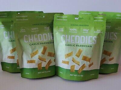 CHEDDIES Cheese Crackers GARLIC PARMESAN Lot Of 4 BAGS Low Carb Low Carb Cheese Crackers