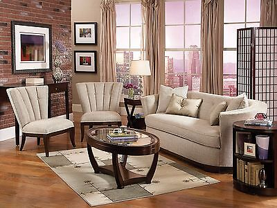 Art Deco Design Living Room Couch Set - Modern Tan Chenille Sofa & 2 Chairs IG8C