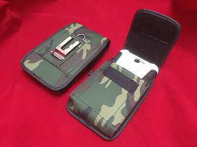 VERTICAL ARMY GREEN NYLON BELT CLIP POUCH FOR SAMSUNG GALAXY S8 ARMOR CASE ON