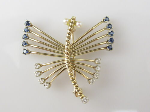 Dragonfly Brooch 14K Pin Blue Sapphire Diamond Seed Pearl Two-Tone Estate