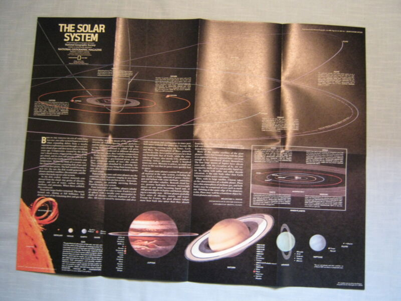 THE SOLAR SYSTEM AND SATURN MAP National Geographic  July 1981 MINT
