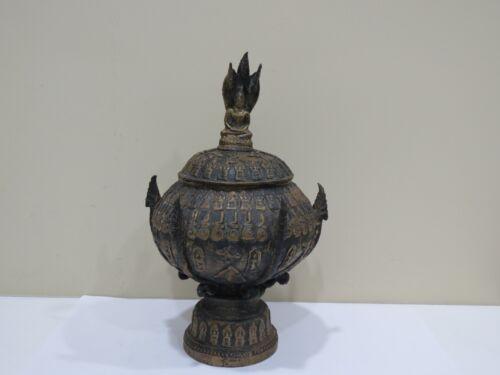 Antique Southeast Asia Bronze Buddha Naga Figural Jar
