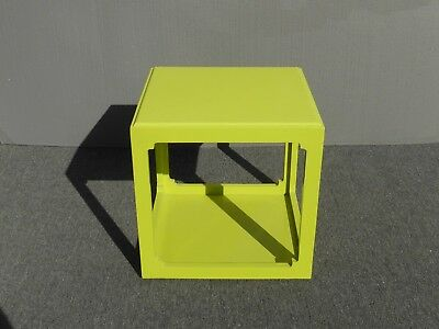 Vintage Contemporary Style Square Lime Green Plastic Two Tier End Table  Contemporary Two Tier