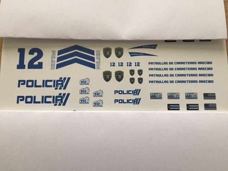 1/24 Puerto Rico Police - PR-22 ARECIBO. ONE SET DECAL ONLY. NO CAR,NO CAR ..