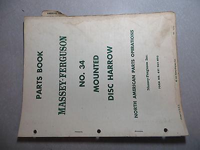 Massey Ferguson No. 34 Mounted Disc Harrow Parts Book
