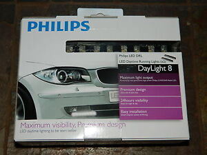 NEW PHILIPS DRL LED DAYLIGHT8 DAYTIME RUNNING LIGHTS 12 VOLT 1 PAIR DAYLIGHT 8