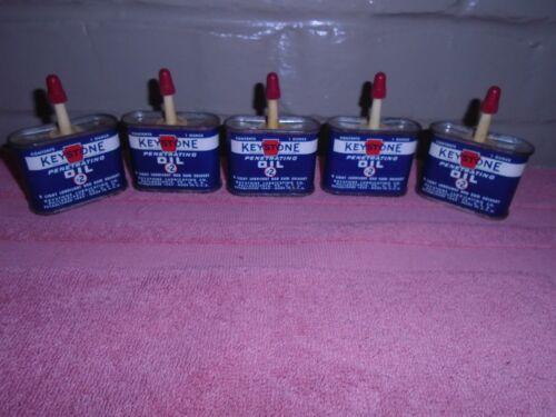 5 Vintage Oil Tin Cans Keystone Penetrating 1 oz. Philadelphia, Pa.
