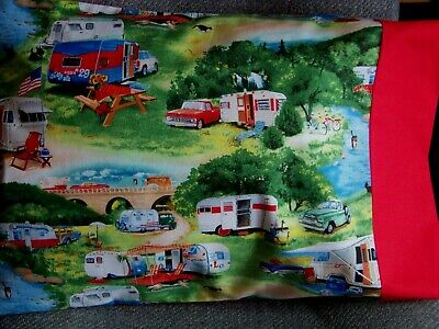 TRAVEL SIZE PILLOW CASE 2 SIDED VINTAGE TRAILERS CAMPING CAMPERS' 50/RED CUFF 2 Sided Cherry Bed
