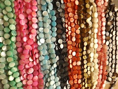 MOTHER OF PEARL FLAT ROUND BEADS DYED/NATURAL (11 MM) 15 INCH STRANDS 9 COLORS