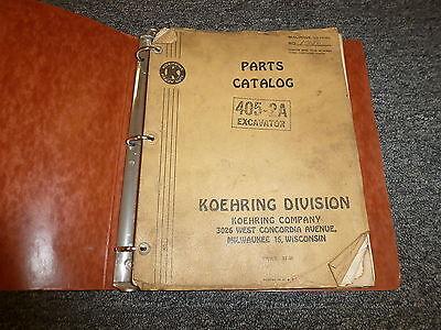 Koehring 405-2a Parts Excavator Crawler Crane Catalog Manual Book