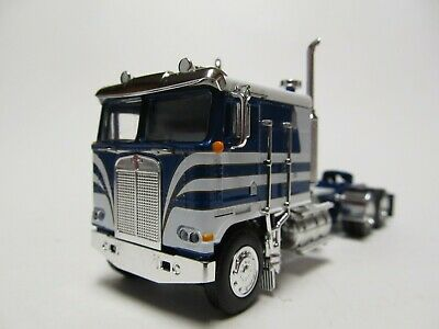 DCP 1/64 SCALE KENWORTH K-100 FLAT TOP, BLUE & WHITE, LONG FRAME, DUAL STACKS