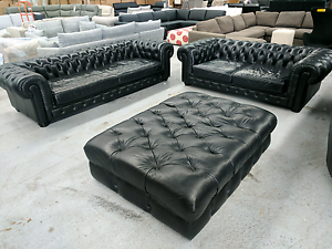 BIG Leather Chesterfield Set - 4 and 3 Seater w Ottoman Eumemmerring Casey Area Preview