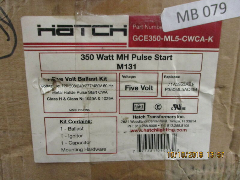GCE350-ML5-CWCA-K Hatch Transformer 350 Watt Magnetic Pulse Start MH BRAND NEW!