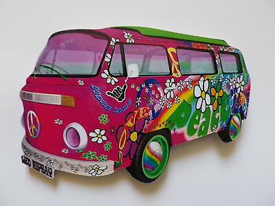 FUNKY LOVE & PEACE PINK VW CAMPER VAN JUMBO SIZE FRIDGE MAGNET.NEW