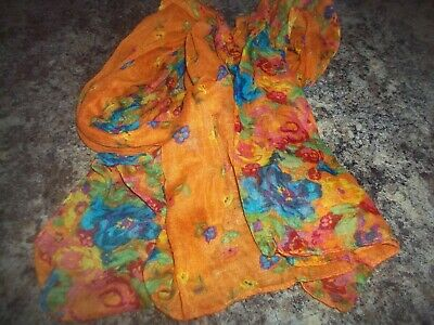 Vintage Scarf Styles -1920s to 1960s  Vintage Colorful Boho Style Scarf Orange with Flowers $15.00 AT vintagedancer.com