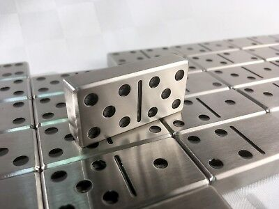 Double Six Set of Stainless Steel Dominoes with Leather Case - Black Dots (Black Dot Domino Set)