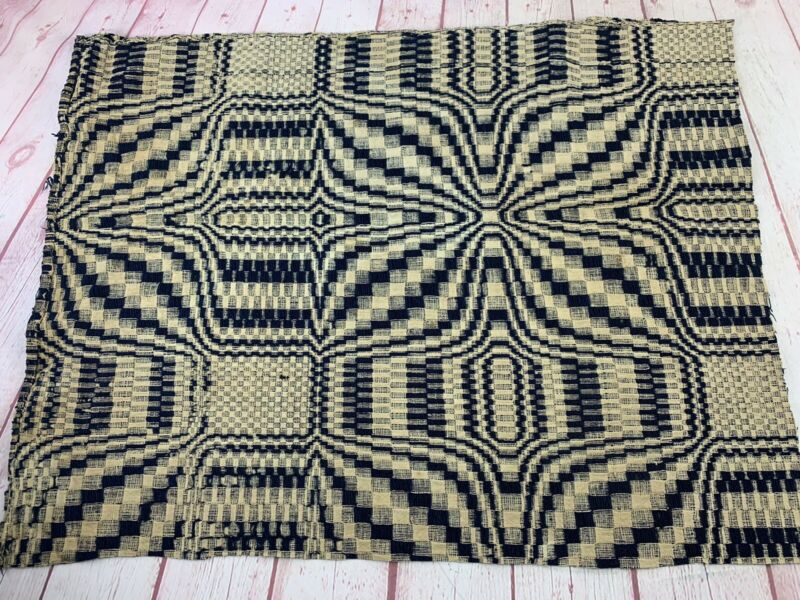 Antique Hand Woven Wool Indigo Blue & Cream Walls Of Jericho Coverlet Piece