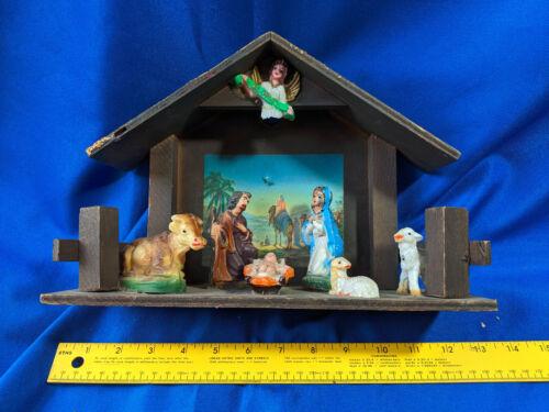 Antique-VTG Nativity Scene Set Gloria Wood Plastic Celluloid Baby Jesus Xmas