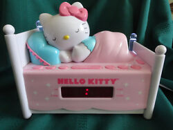 Hello Kitty Child's Sleeping Kitty Alarm Clock AM/FM Radio w/ Night Light works