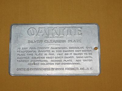 """VINTAGE CLEAN JEWELRY OLD AD 5 1/2"""" X 3 1/4"""" OAKITE SILVER CLEANING PLATE"""