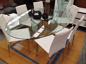Stunning Designer Glass & Chrome Dining Set 6 place #3893 North Geelong Geelong City Preview