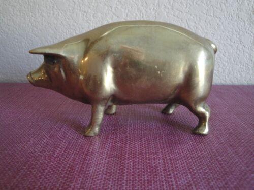 Vintage Brass Pig Piggy Coin Bank