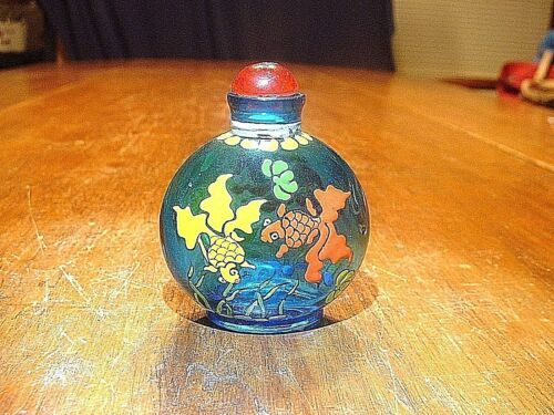 Wonderful Chinese Enamel Painted Blue Snuff Bottle With Fish Motif Signed