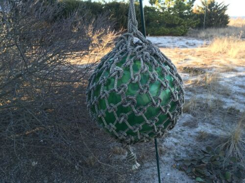 Vintage Large Japanese Netted Aqua Green Glass Fishing Float - 48""