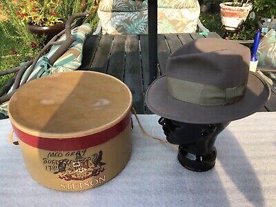 1950s Mens Hats | 50s Vintage Men's Hats Vintage EXCEL. 1950s Stetson Beaver Twenty Fedora wide brim Whippet Style 6-3/4  $100.00 AT vintagedancer.com