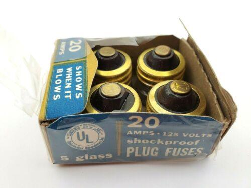 Lot of 4 Woolworth Vintage Glass Plug Fuses 20 Amp 125V Shockproof
