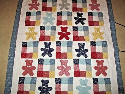 Quilt Teddy Bear Baby Lap Throw Blanket Quilt