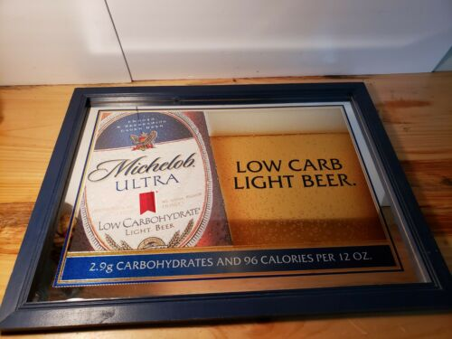 """2002 Michelob Ultra Light Low Carb Beer Framed Bar Advertising Mirror  26"""" x 20"""""""