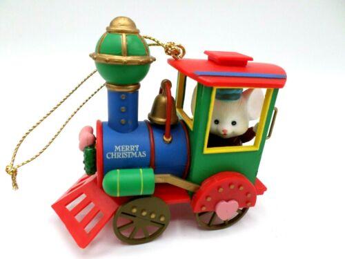 Lustre Fame Mouse On Locomotive Train Christmas Ornament 1992 Merry Christmas